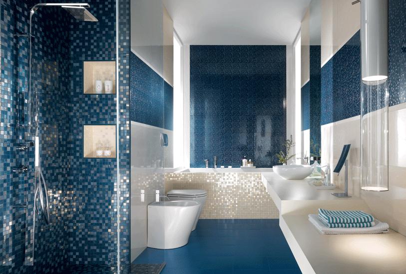 Bagno blu alcuni consigli per uno stile perfetto - Arredo bagno mosaico ...